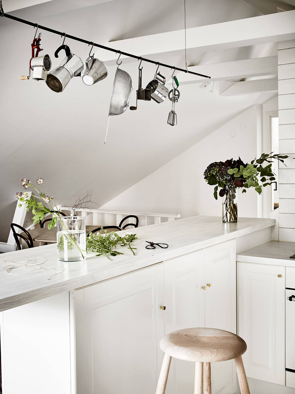Oracle Fox, Sunday Sanctuary, Elsewhere, Small Apartment, living, Alternative Scandinvian, Interior, Artwork, Desk, Minimal, Kitchen, White, indoor plants