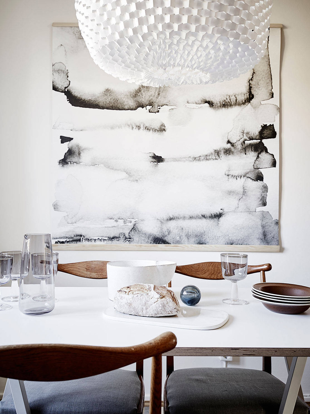 Oracle, Fox, Sunday, Sanctuary, Suncatcher, Scandinavian, Interior, Bright, white, living, room, marble, painting