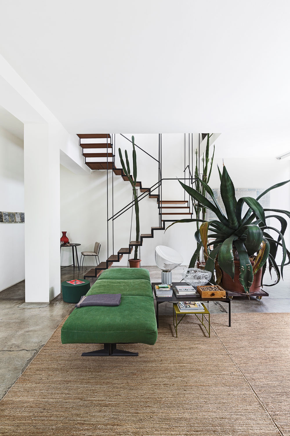 Oracle Fox, Sunday Sanctuary, prerequisites, industrial interior, green, cement, large, interior plants, giant cactus, mid century interior, lounge room,