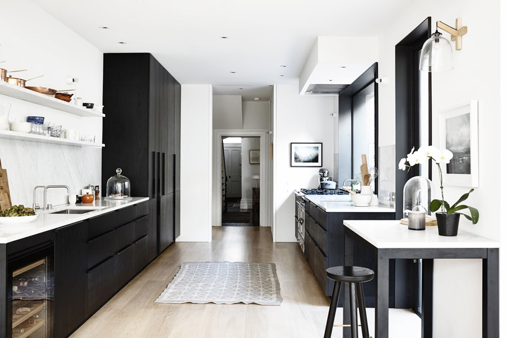Oracle, Fox, Sunday, Sanctuary, focal, Point, Bright, Modern, Australian, Interior, black and white kitchen, wooden floors,