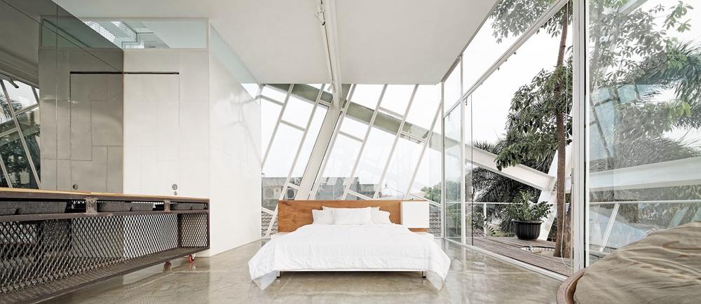 Oracle, Fox, Sunday, Sanctuary, Upside, White, Glass Bedroom, Interior, Architecture, Industrial, Minimal, Bedroom