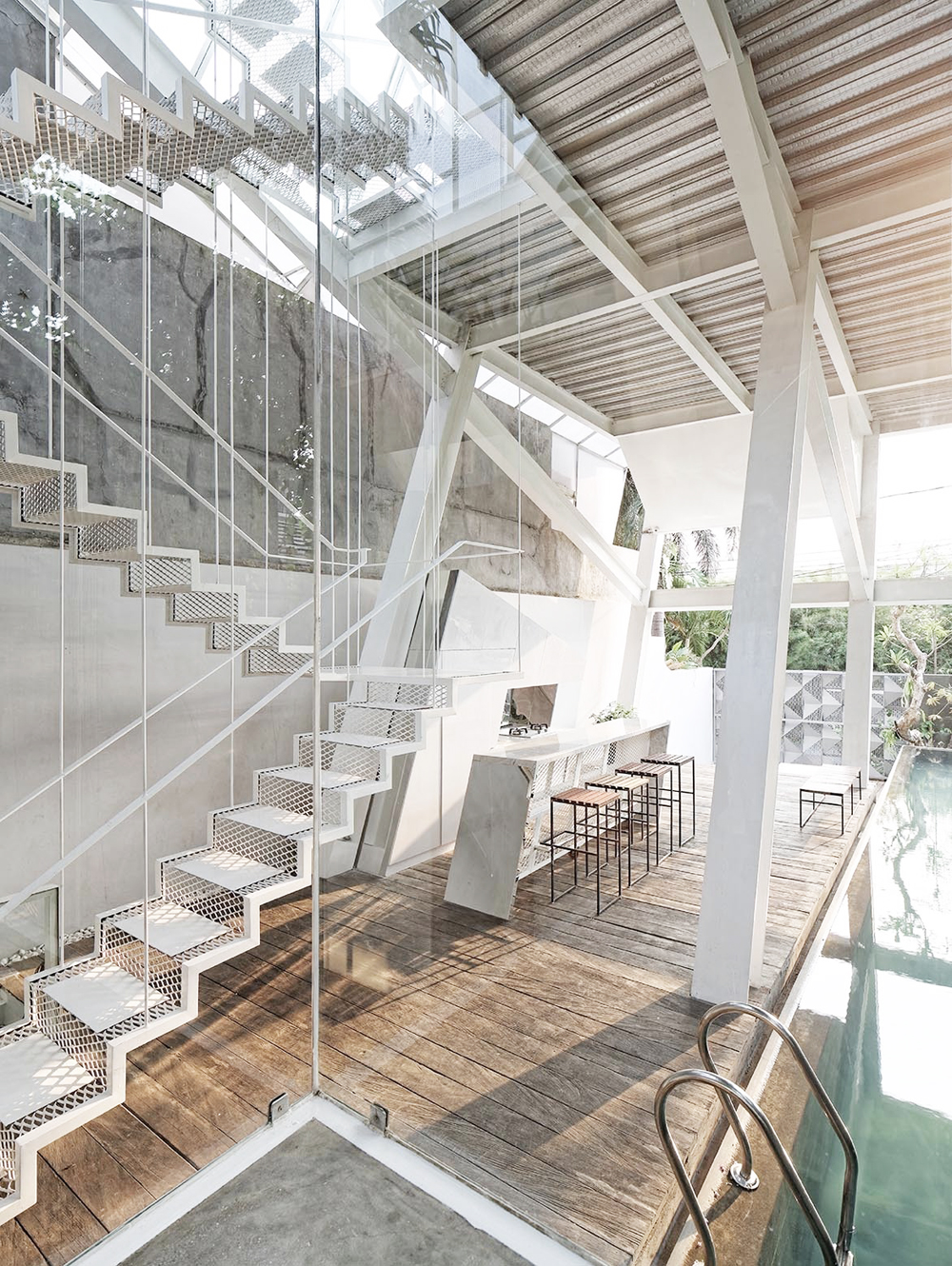 Oracle, Fox, Sunday, Sanctuary, Upside, White, Glass Bedroom, Interior, Architecture, Indoor, Pool, Staircase