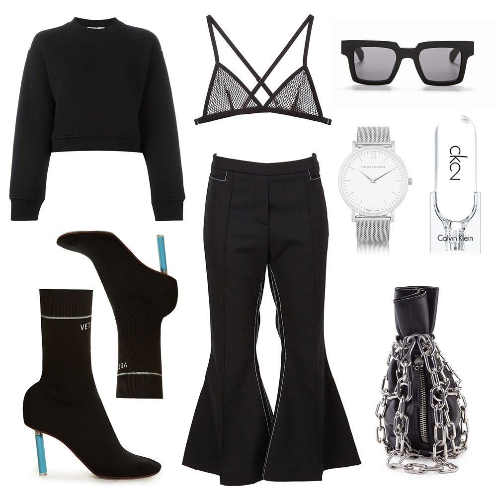 Vetements boots, cropped flares, black top, black triangle bra, Alexander Wang bag, black sunglasses, larsson and jennings watch, calvin klein perfume, oracle fox