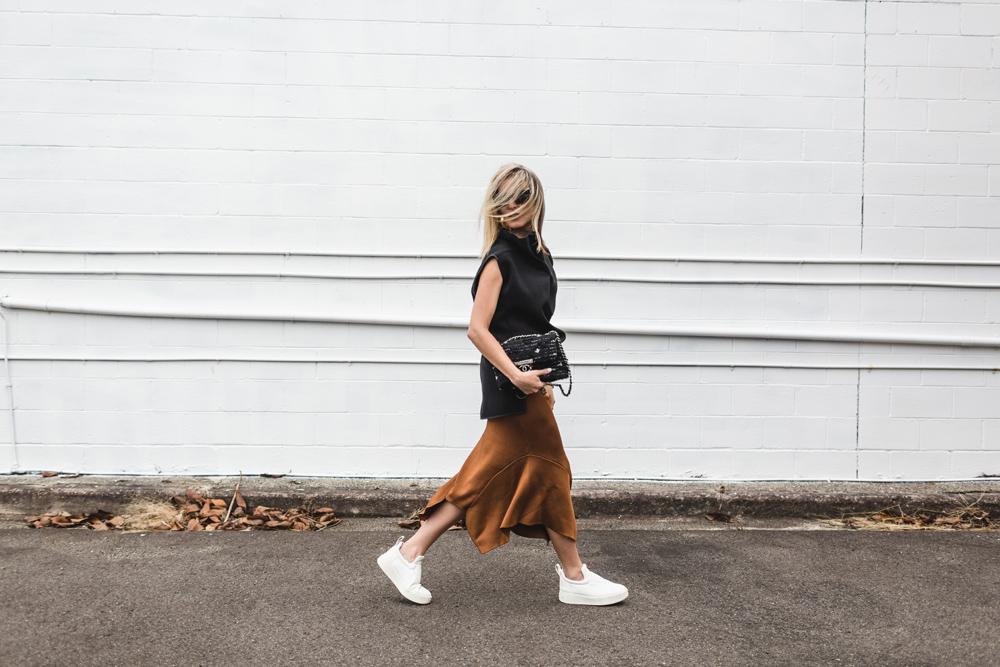 toni maticevski, toni maticevski top, cameo skirt, cameo, rust skirt, knit skirt, celine shoes, chanel bag, celine earrings, celine sunglasses