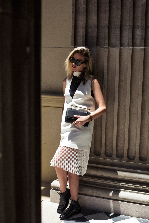 white skirt, white top, mesh, mesh skirt, rm williams, rm williams boots, m2 malletier, m2malletier, black bag, gold jewellery, gold jewelery,