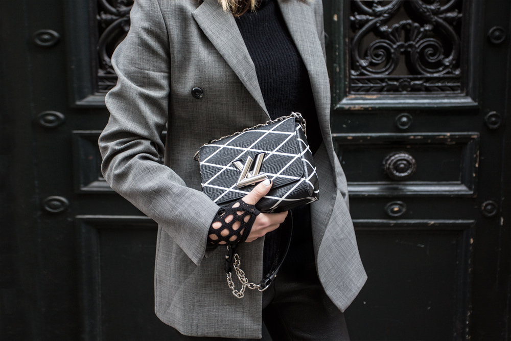 Ellery Blazer, Grey Blazer, Leather pants, black shoes, Brogues, Fishnet Socks, Louis Vuitton Bag, Amanda Shadforth, Oracle Fox