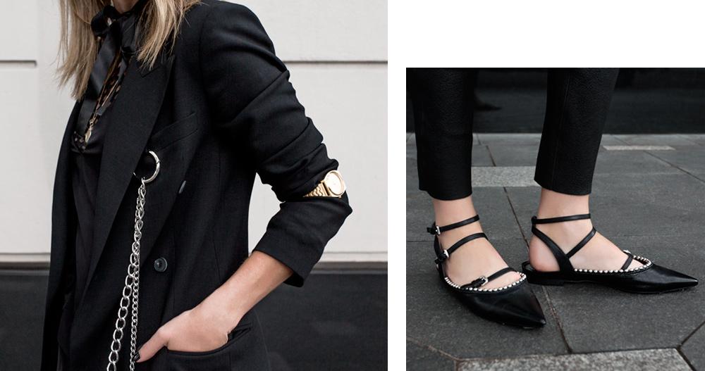 McQ, Alexander McQueen, McQ Alexander McQueen, Black Blazer, Classic Black Blazer, Black Shoes, Black Flats, Black Studded Shoes, Studded Black Flats, Leather pants, Mesh Top, Givenchy Bag, Amanda Shadforth, Oracle Fox, Outfit