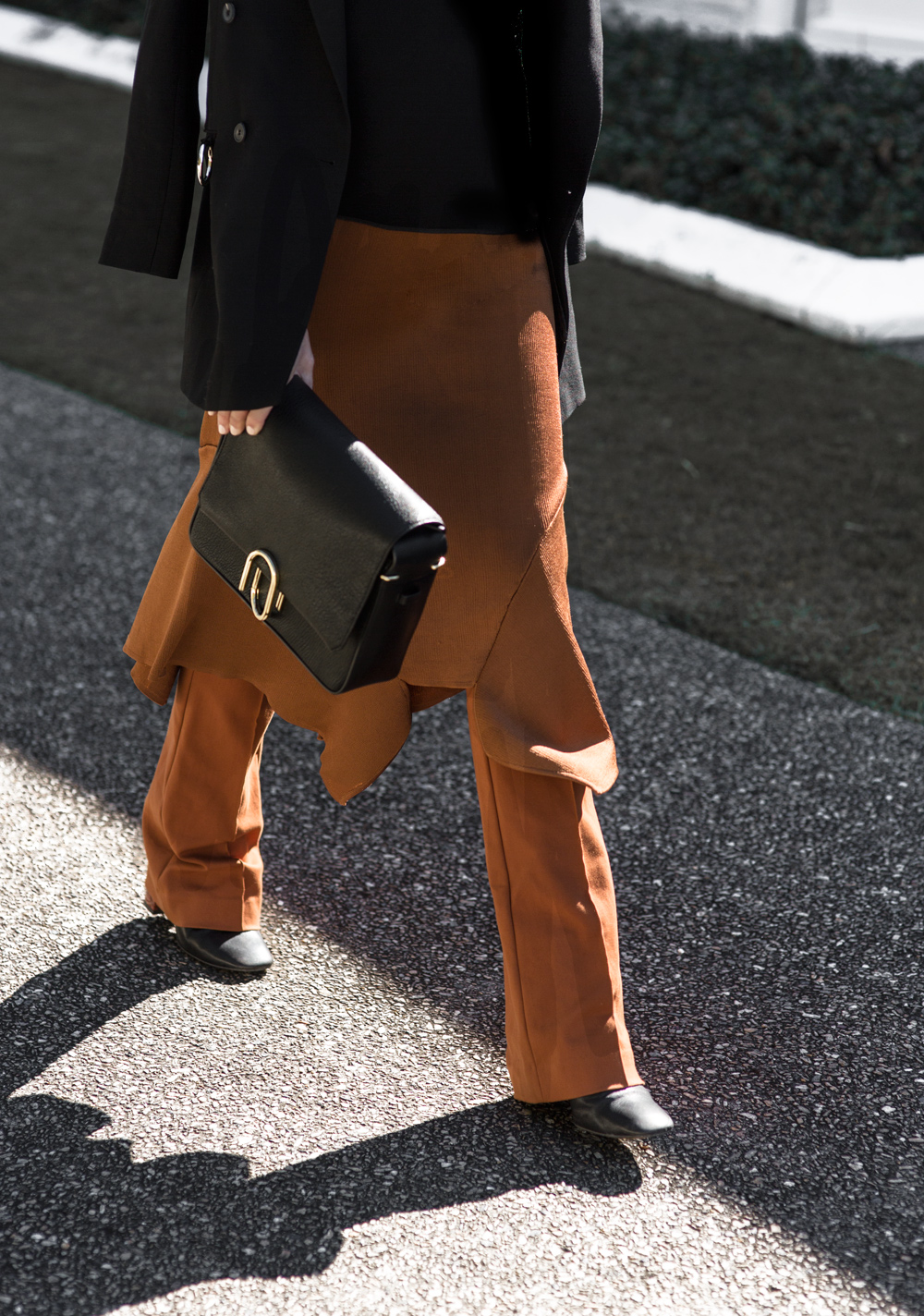 McQ Blazer, Toni Maticevski, rust skirt, phillip lim bag, phillip bag, phillip alix bag, flares, outfit, holly ryan, holly ryan jewellery, amanda shadforth, oracle fox