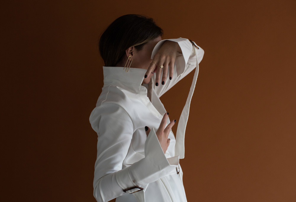Exhibit, White Jacket, Calvin Klein, Buckle Sleeve, Crop Flares, Gold Earring, Amanda Shadforth, Oracle Fox, Studio