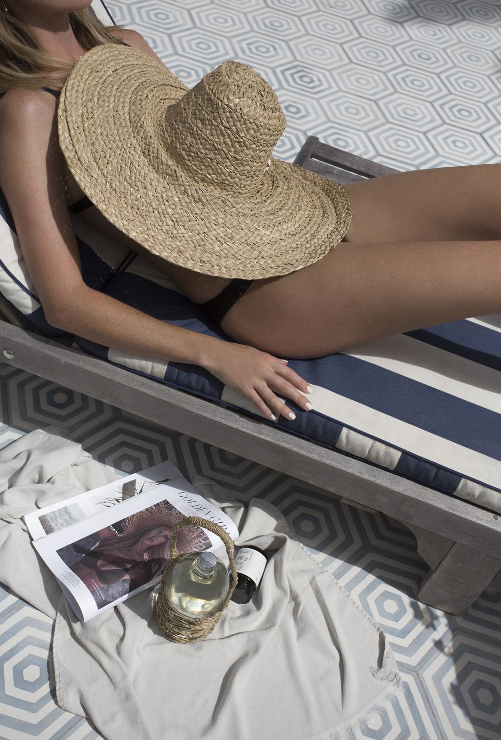 Black Bikini, Black Swimsuit, Straw hat, Beach, Bear Vitamins, Halcyon House, Byron Bay, Oracle Fox