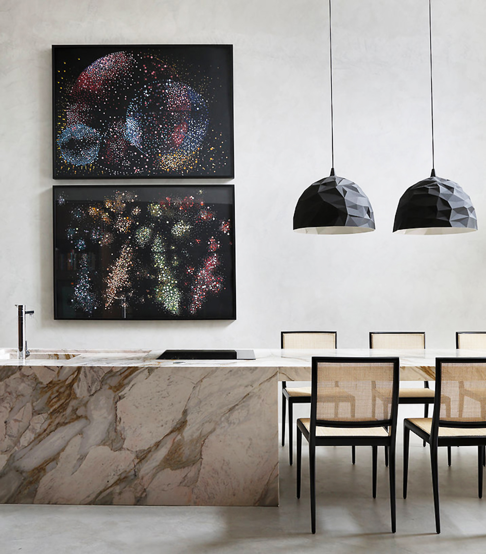 kitchen, marble, marble bench, dining, pendant lights, interiors, home, interiors, interiors tour, ma home, guilherme torres, sunday sanctuary, oracle fox