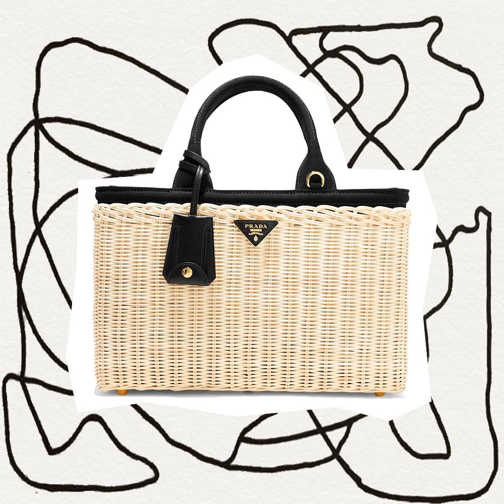Prada, Bag, Outfit, Collage, Line Drawing, Straw Bag, Canvas, Wicker Tote