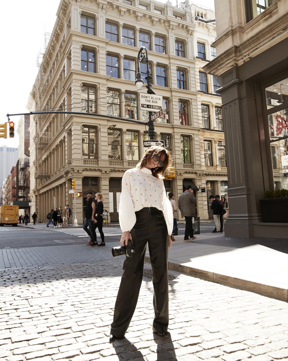 Tibi, Tibi Blouse, Tibi Pants, Leather Pants, Tiffany & Co, Tiffany Jewellery, Tiffany Jewelry, tiffany NYC, New York, NYC, Outfit, Street Style, Amanda Shadforth, Oracle Fox
