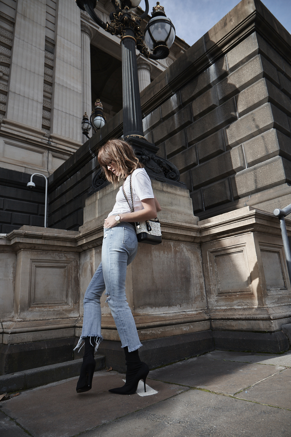 Chanel, Gabrielle, Bag, Tweed, Street Style, Amanda shadforth, melbourne, mother denim, jeans, balenciaga, knife boots