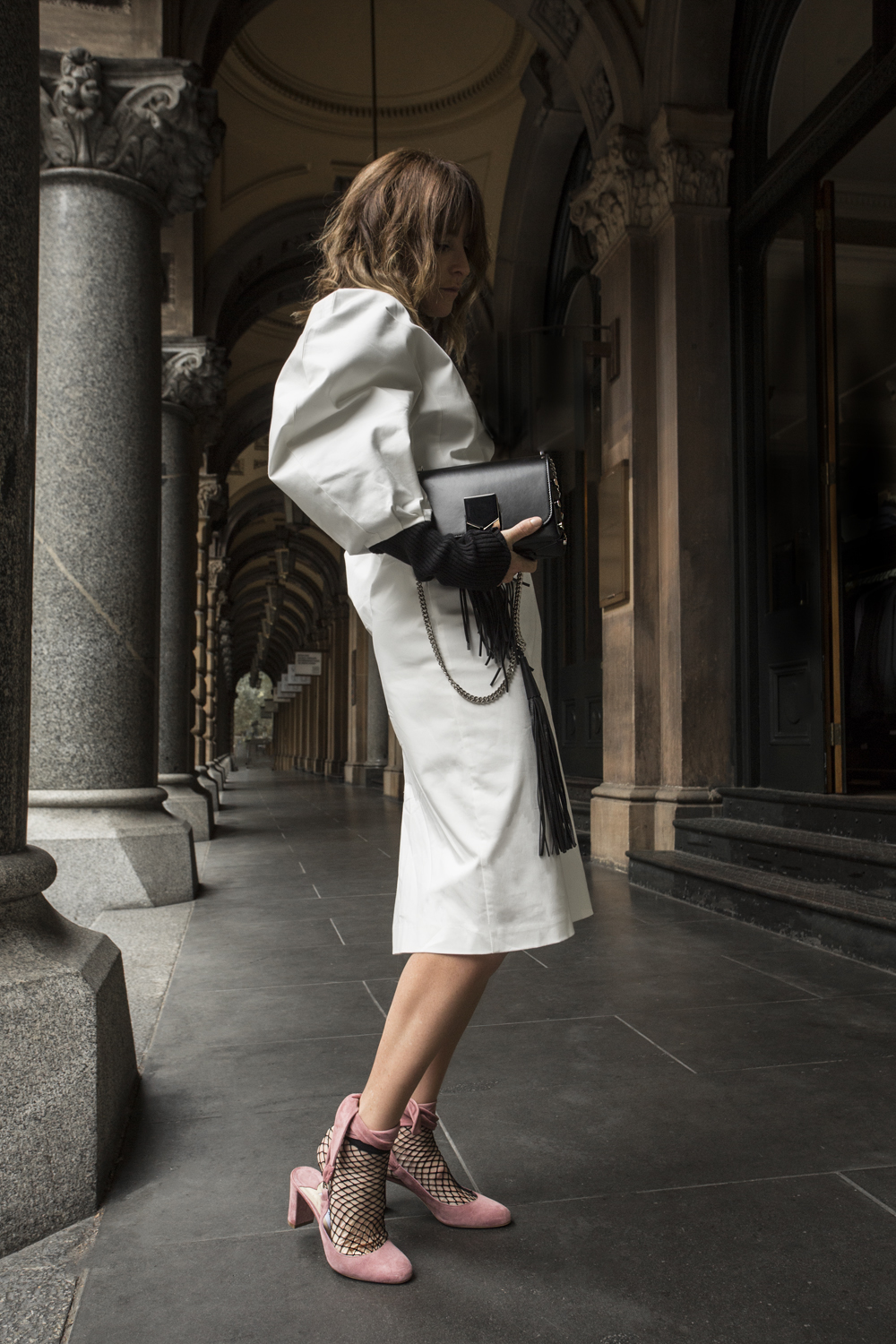 jimmy choo, shoes, bag, lockett, round sunglasses, monochrome, outfit, pink shoes, wrap around shoes, sandals, gold necklace, amanda shadforth