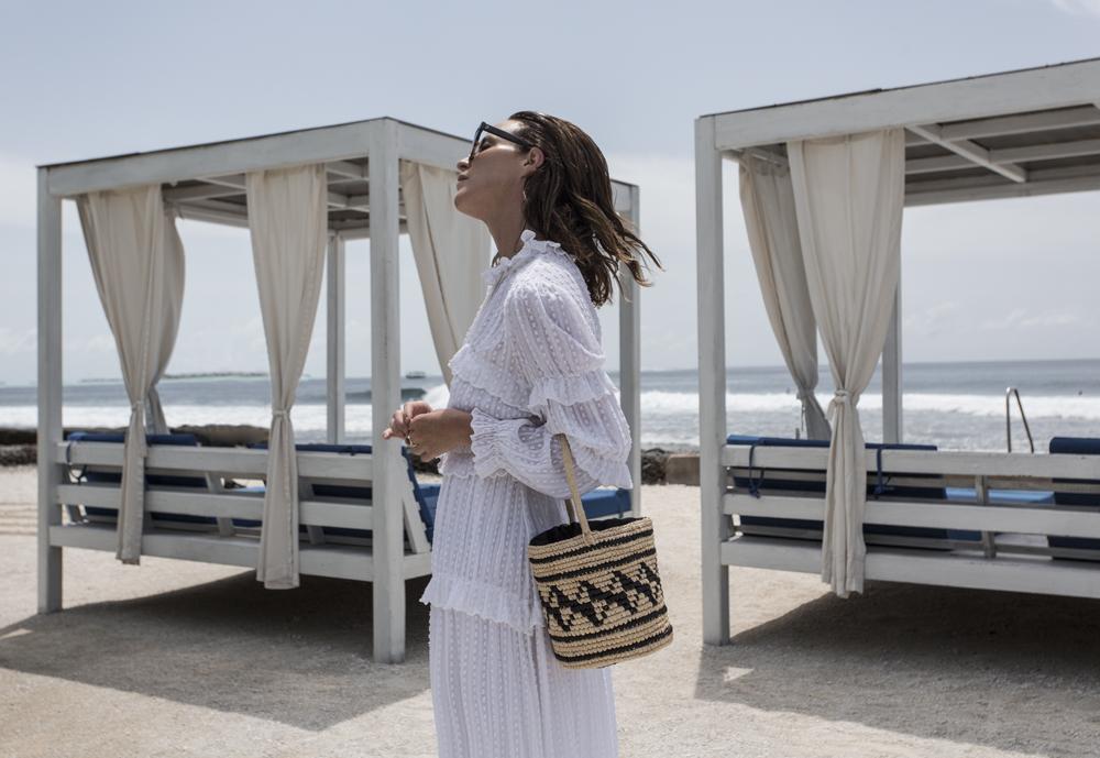 Isabel Marant, Isabel Marant dress, white dress, cane bag, straw bag, matches fashion, matchesfashion, wrap sandals, maldives holiday, bermuda hat, vacation, celine sunglasses