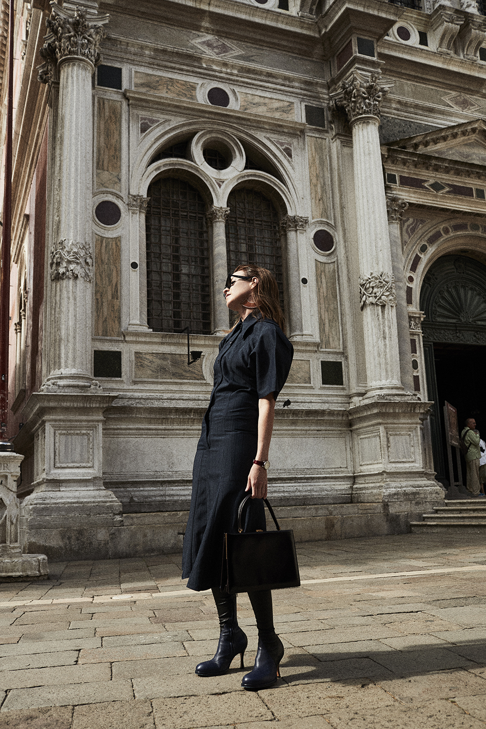 Celine, Outfit, Sunglasses, Venice, Celine Dress, Celine Boots, Amanda Shadforth, Oracle, Fox