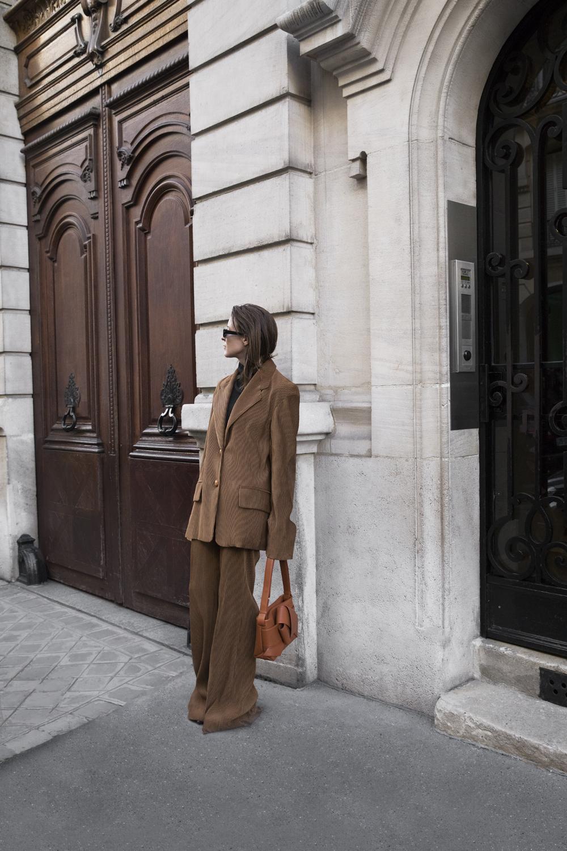 Acne-Corduroy-Brown-Suit-Knot-Bag-Paris