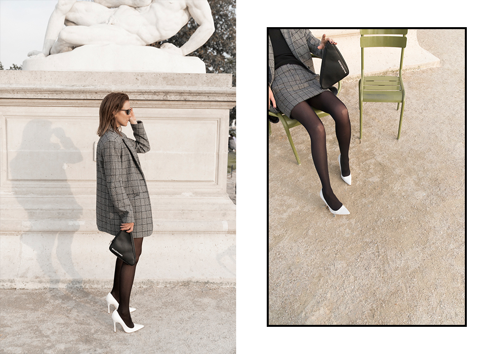 Personal, Outfit, Editorial, Tibi, Grey, Suit, Mini, Skirt, Balenciaga, Bag , Sunglasses, Tulilleries, Oracle, Fox, Amanda, Shadforth