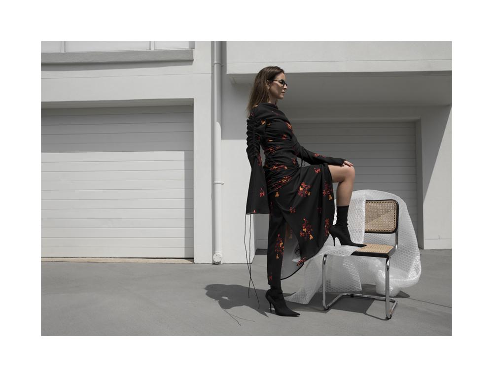 Ellery, Dress, Balenciaga, Boots, Celine, sunglasses, outfit, Street Style, amanda shadforth
