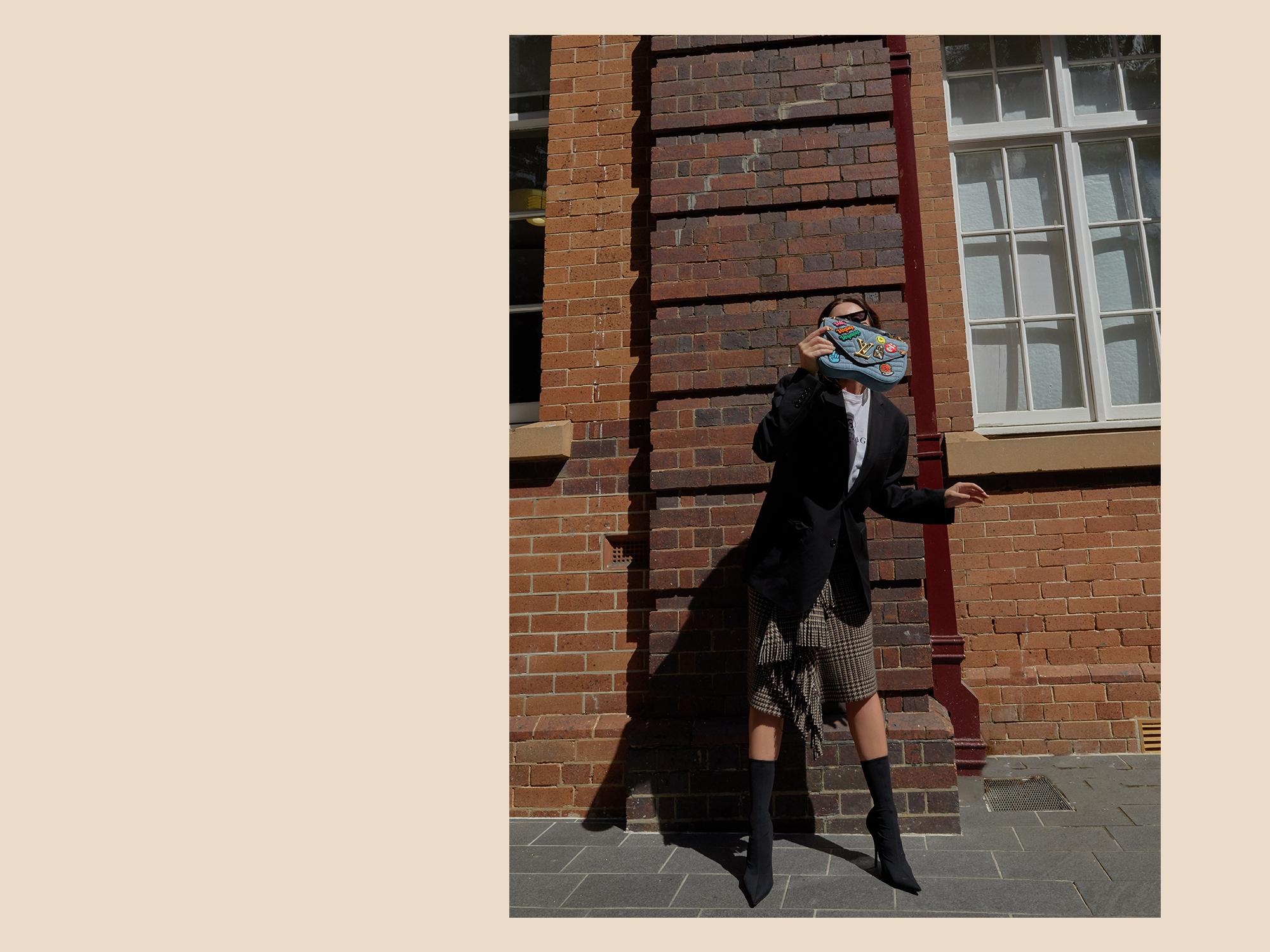 Balenciaga, Skirt, Tweed, Louis, Vuitton, Handbag, New, Wave, Denim, Outfit, Inspiration, Oracle Fox
