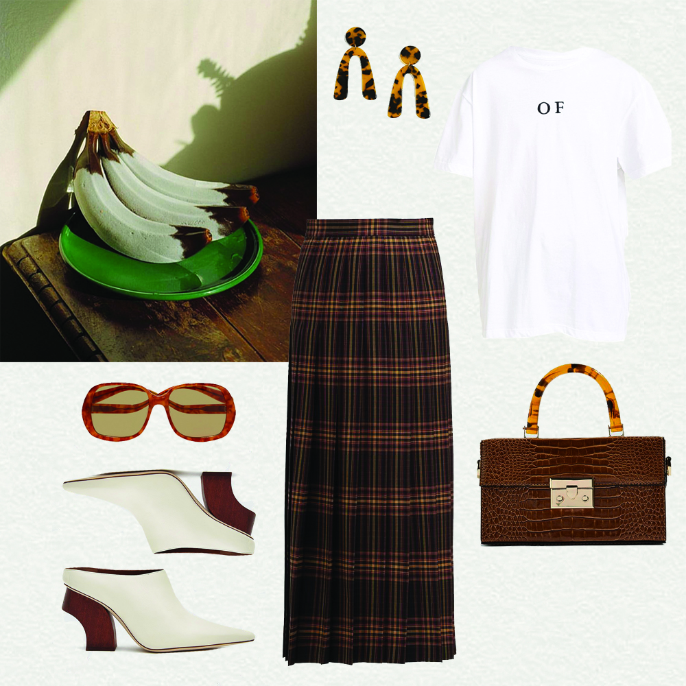 Outfit, Inspiration, Gucci, Skirt. OF, T-shirt, Rejina Pyo Shoes, Topshop earrings, oracle fox outfit,