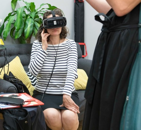 Marisol Grandon from Unfold Stories viewing Save the Children's VR film (Save the Children)