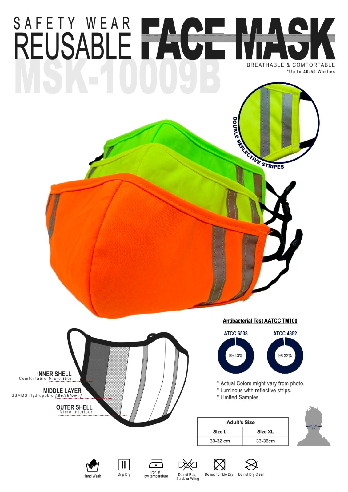 reusable face mask with reflective strips