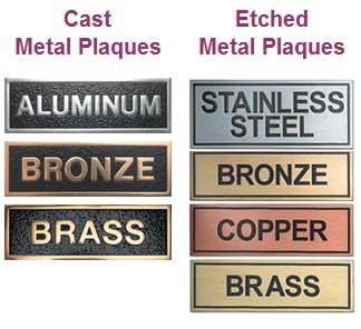 metal plaques cast metal