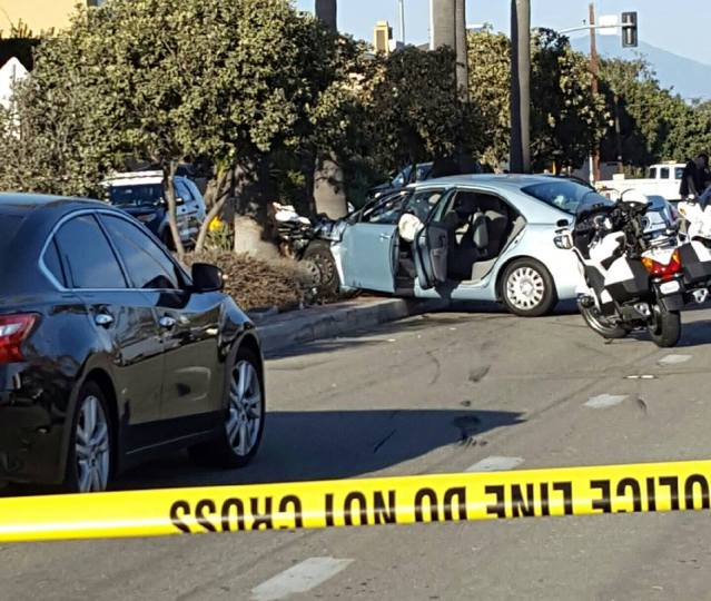 AFTERMATH of a chase in which a stolen car collided with another vehicle in Huntington Beach Wednesday afternoon (HBPD photo).