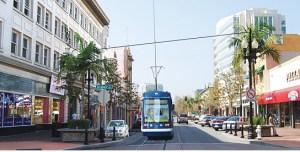 ARTIST'S RENDERING of a streetcar in Santa Ana (OCTA image).