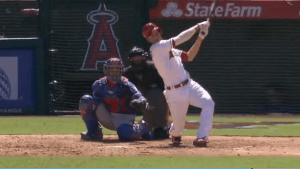 ANDRELTON SIMMONS homered twice in the Angels win Sunday (Angels video image).