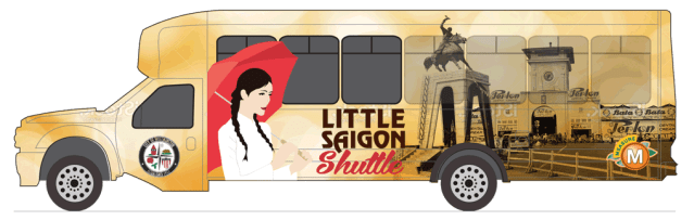 """THE MOST POPULAR of four proposed """"wraps"""" for the Little Saigon bus shuttle (OCTA image)."""