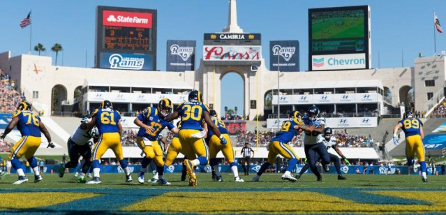 THE RAMS beat the Seattle Seahawks 9-3 Sunday at the Coliseum (Rams photo).
