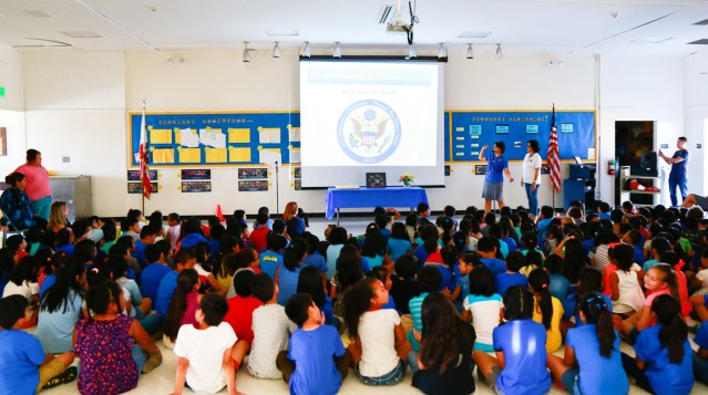 STUDENTS and staff gather for observance of Cook School being names a nation Blue Ribbon winner (GGUSD photo).