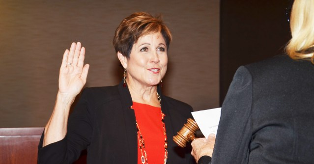 BARBARA DELGLEIZE was sworn in Monday night as the new mayor of Huntington Beach (OC Tribune photo).