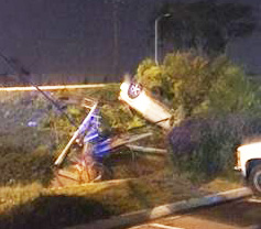 POWER POLE knocked down by a car in Westminster Sunday night (WPD photo).