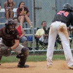 Mark Boland moves out of the way of a bad pitch.