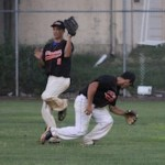 Grayson Amoroso and Nick Baviello in this file photo from Tuesday's game.