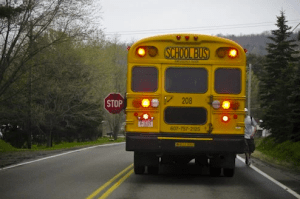 school bus with flashing lights