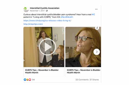 "Screenshot of tweet from Interstitial Cystitis Association reads ""Curious about interstitial cystitis/bladder pain syndrome? Hear from a real #IC patient in 'Living with IC/BPS,'"" from ICA #NovBHealth"" and includes links and photo previews to ICA content."