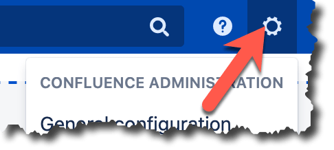 An image of an orange error pointing to the settings cog on the confluence top menu bar