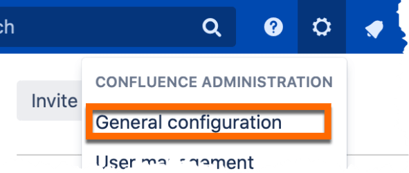 An image of the confluence settings sub menu with an orange box surrounding the general settings option