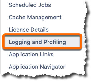 An image of the left side bar of the administrator configuration page with an orange box surrounding the logging and profiling option