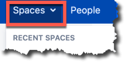 An image of the expanded spaces menu option of the top confluence navigation bar
