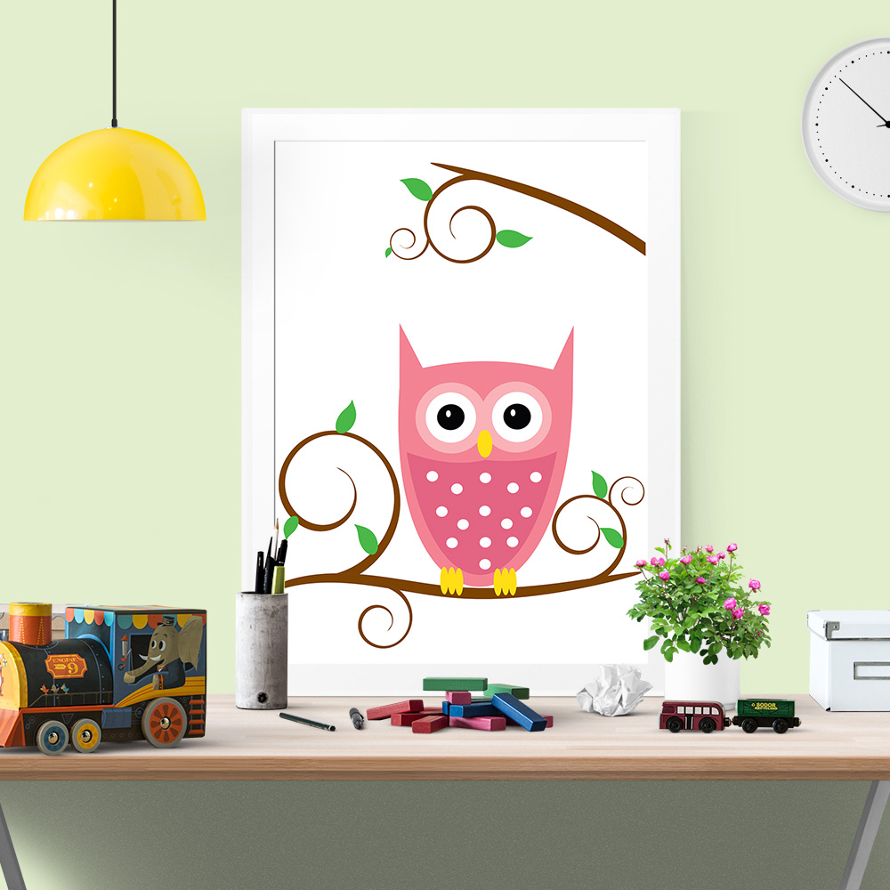 Cute Owl Decor Cute Owl Poster Ideal For Babies And Kids Room Decor Colorful
