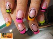 neon colored acrylic nail design