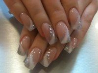 White and Silver Square Acrylic Nail Design with ...