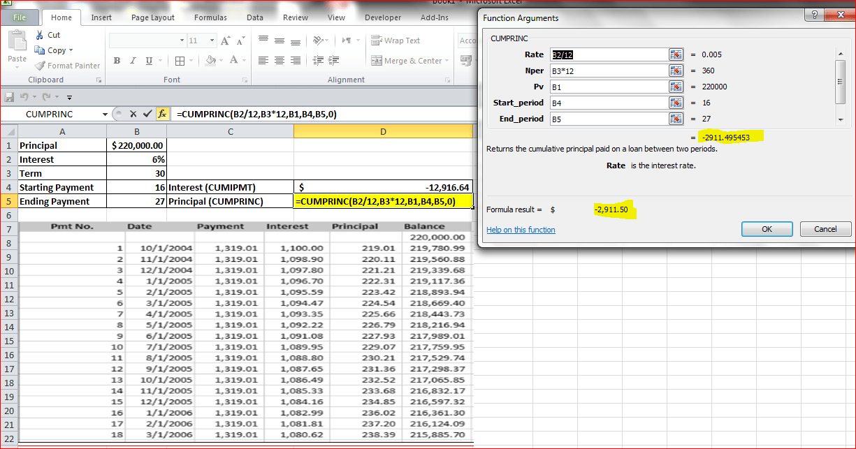 Using the CUMIPMT and CUMPRINC functions in Excel 2010