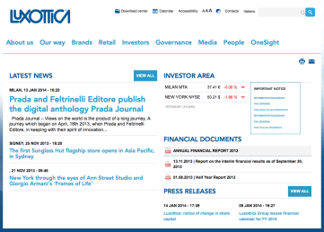 Luxottica's Old Homepage